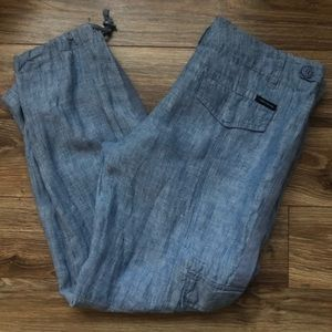 Anthropology linen crop cargo pants size 28